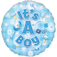 Фольгированный шар baby boy круг 46см