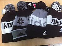 РАСПРОДАЖА Спортивная шапка с помпоном логотипом  ADIDAS c  подворотом