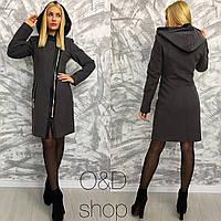 Пальто женское с капюшоном итальянский кашемир