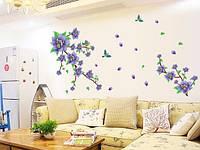 Интерьерная наклейка на стену  Сиреневые Цветы  (170х100см)