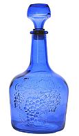 """Бутылка 1,5л стеклянная со стеклянной пробкой """"Фуфырек""""  синего цвета"""