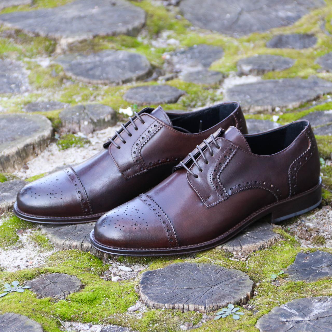 Итальянские мужские кожаные туфли оксфорды 42 размер