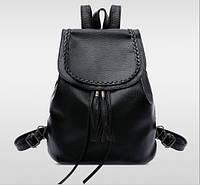 Рюкзак женский городской кожзам плетенный с кисточкой