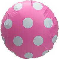 Шарик фольгированный круглый Горошек розовый, диаметр 45 см