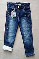 Теплые детские джинсы на махре Tati для девочек 1-4 года Турция оптом