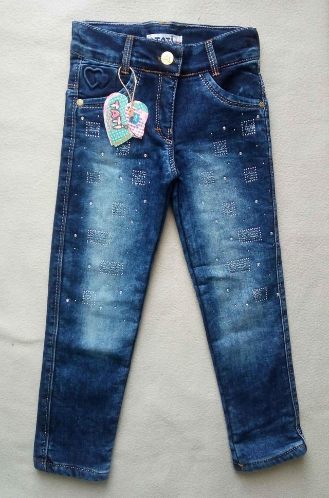 Теплые детские джинсы на махре Tati для девочек Турция оптом