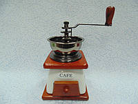 Ручная деревянная механическая кофемолка размер 12*12*18