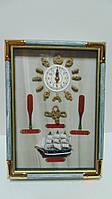 Ключница настенная деревянная  «Морской узел» с часами размер 35*25*7