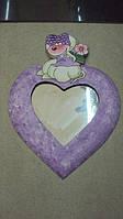 Декоративное зеркало настенное деревянное Сердце размер 20*30