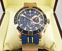 Часы Ulysse Nardin Diver Chronograph (Кварц) Gold/Blue. Класс: AAA