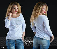 Женская футболка батал с длинным рукавом