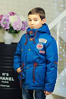 Куртка парка для мальчика демисезонная 122-140. Волна