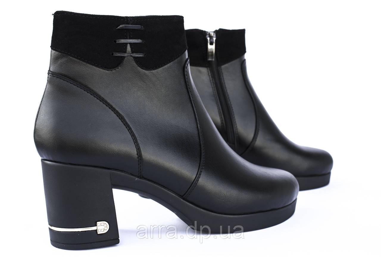 Ботинки кожаные, короткие, на платформе; от производителя.