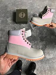 Женские ботинки Timberland 6 inch Grey Pink без меха (Реплика ААА+)