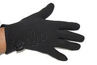 Стильные теплые черный перчатки с бантиком из ткани