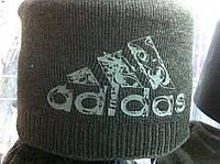 Шапка мужская двойная на флисе с логотипом  ADIDAS хорошего качества