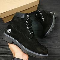 Зимние женские ботинки TimberlandClassic 6 inch Black Winter (Тимберленд) с мехом