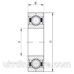 Шарикоподшипник однорядный радиально упорный - схема