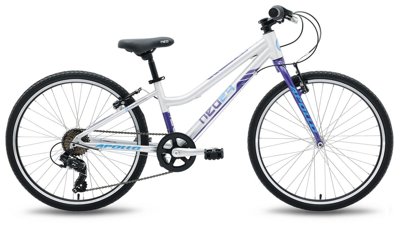 "Велосипед 24"" Apollo Neo 7s girls Brushed Alloy / Purple / Blue 2019"