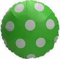 Шарик фольгированный круглый Горошек зелёный, диаметр 45 см