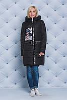 Пальто женское демисезонное с нашивкой черное