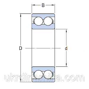 Шарикоподшипник радиально упорный двухрядный - схема