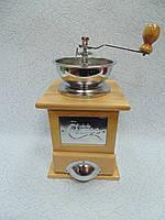 Ручная деревянная механическая кофемолка размер 15*15*25