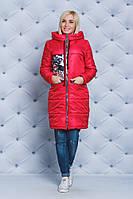 Пальто женское демисезонное с нашивкой красное