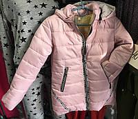 Детская зимняя куртка для девочки  на овчине оптом на 5-9 лет пудра