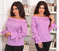 Стильная женская блузка с бантиками батал