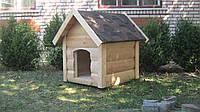 Будка для собаки МУХТАР | Средняя | Двускатная | Гибкая черепица | Блокхаус | Доска пола