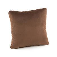 Подушка декоративна квадратна, коричневий флок_под нанесення, фото 1