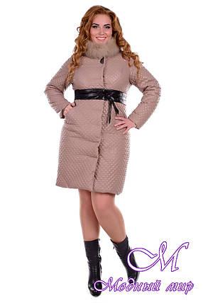 Женское синтепоновое зимнее пальто больших размеров (р. XL, XXL) арт. Андрия донна песец зима - 6655, фото 2