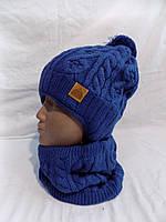 Детский набор шапка+хомут зима оптом, фото 1