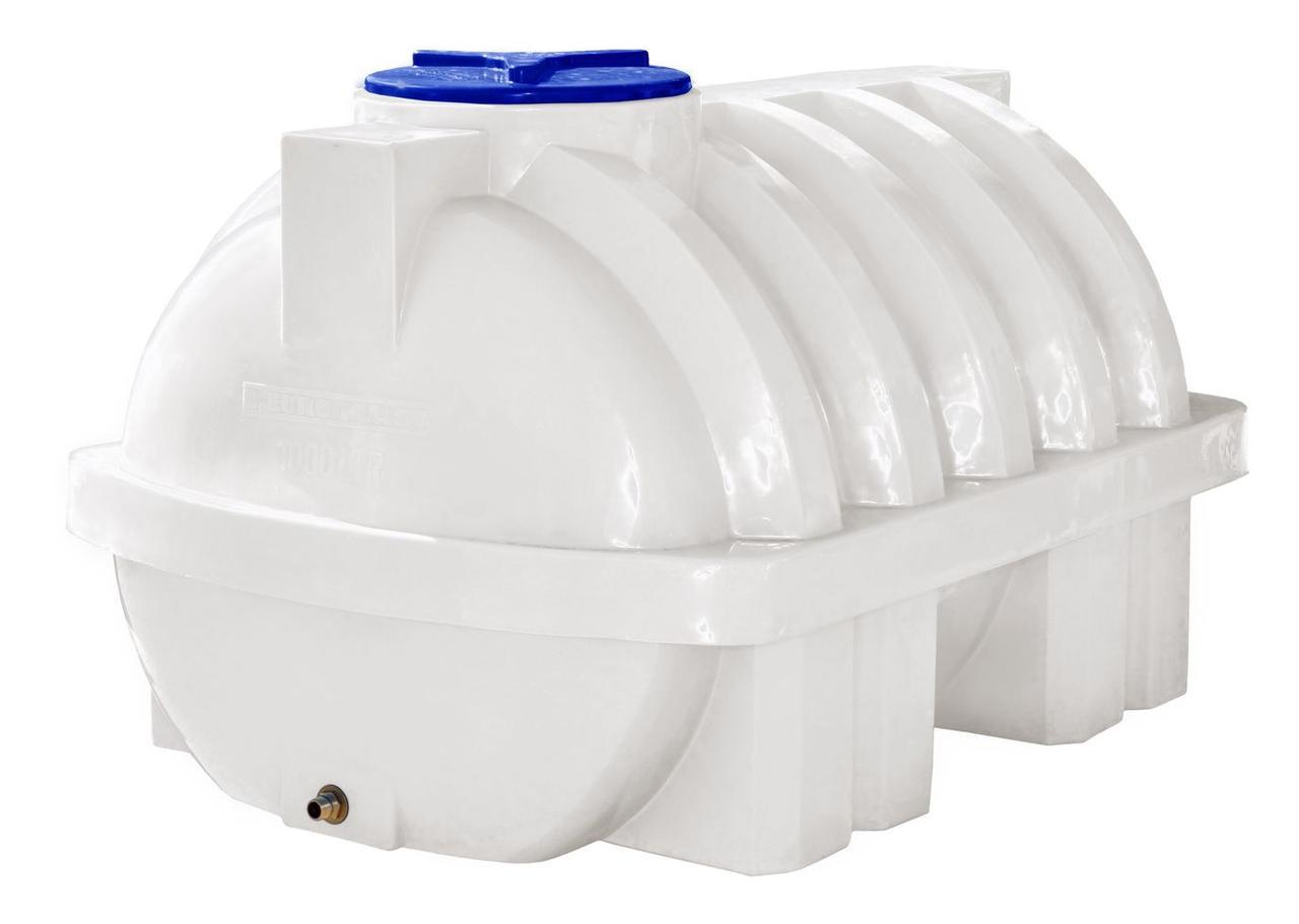 Емкость, бак, бочка 1000 литров пищевая усиленная ребром горизонтальная RGО Р
