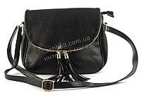 Удобная прочная вместительная женская наплечная сумочка почтальонка art. 892 черная