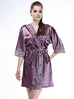Шелковый халат Serenade, сливовый (размеры S, M, L, XL)