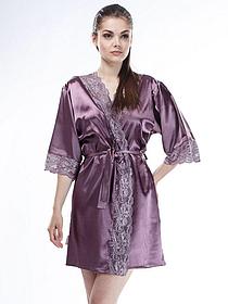 Шелковый халат Serenade, арт. 2301, сливовый