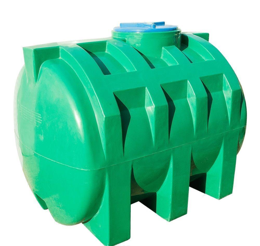 Емкость бак, бочка 1000 литров пищевая зелёная двухслойная горизонтальная RGД З