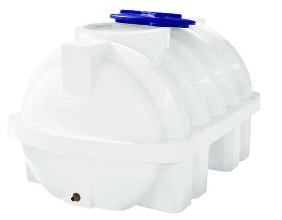 Бак, бочка, емкость 500 литров пищевая горизонтальная усиленная с ребром RGО Р, фото 2