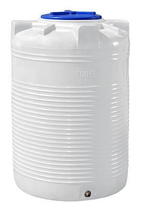 Бак, бочка, ємність 500 літрів харчова, вертикальна RVО, фото 2