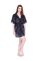 Шелковый халат Serenade, черный  (размеры S, M, L, XL)