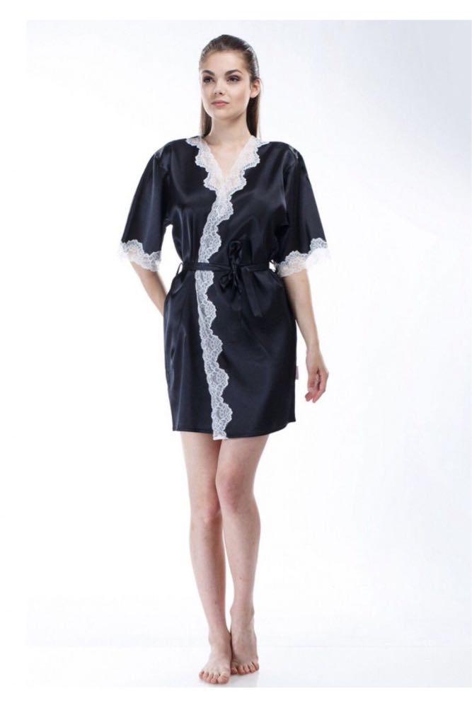 Шелковый халат Serenade, арт. 202, черно-экри