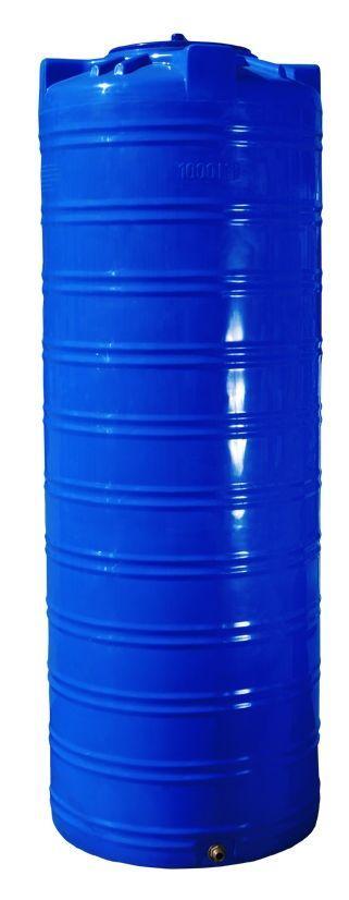 Емкость 1000 литров бак, бочка пищевая двухслойная узкая вертикальная RVД У