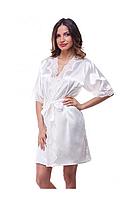 Шелковый халат Serenade, айвори  (размеры S, M, L, XL)