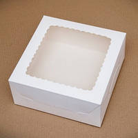 Коробка для торта 25х25х10 см. (белая с окошком)