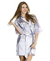 Шелковый халат Serenade, серебро  (размеры S, M, L, XL)