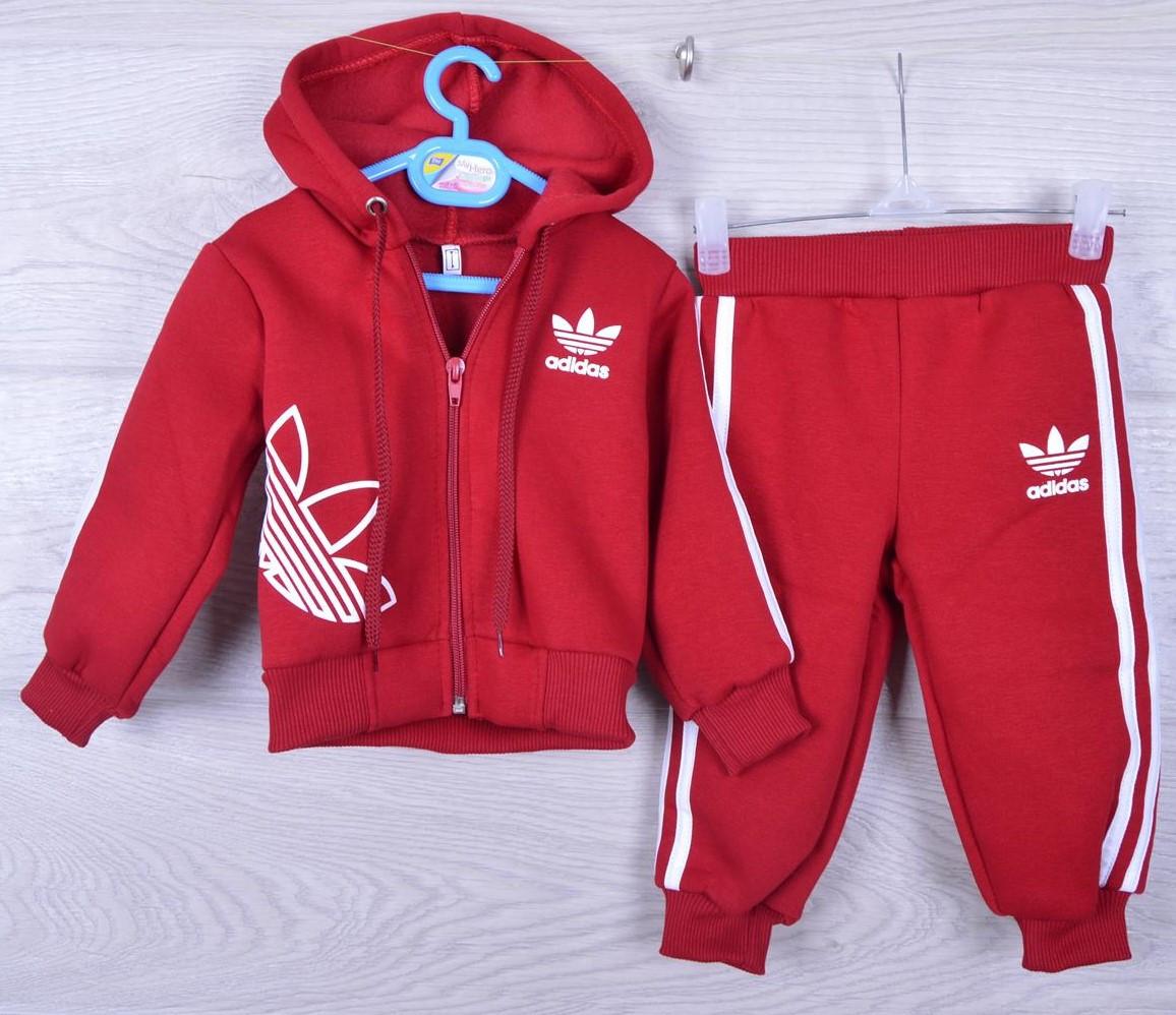 """Утепленный спортивный костюм на флисе """"Adidas реплика"""". 1-2-3 года. Красный. Оптом"""