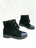 Ботинки из натуральной замши. Лаковый носок