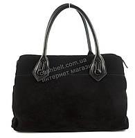Стильная полностью замшевая прочная женская сумка с натурального замша art. 506 черная Турция
